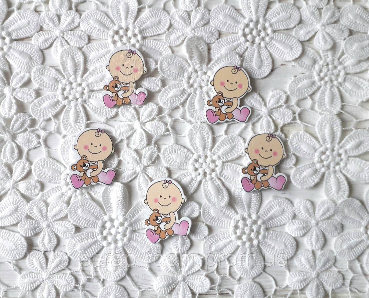 Деревянный кабошон детский Девочка с мишкой, baby,  розовая девочка, baby girl