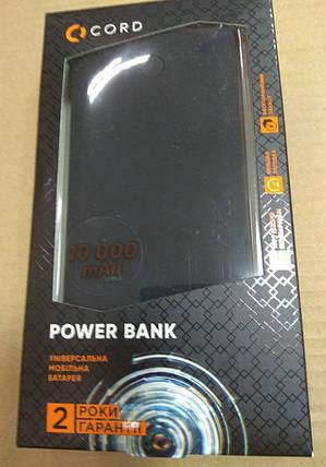Внешний аккумулятор Power Bank Cord P07A 10000mAh Black Гарантия 12 месяцев, фото 2