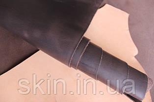 """Кожа натуральная """"Крейзи Хорс"""" для галантерейных изделий коричневого цвета, толщина 1.5 мм, арт. СК 1169"""