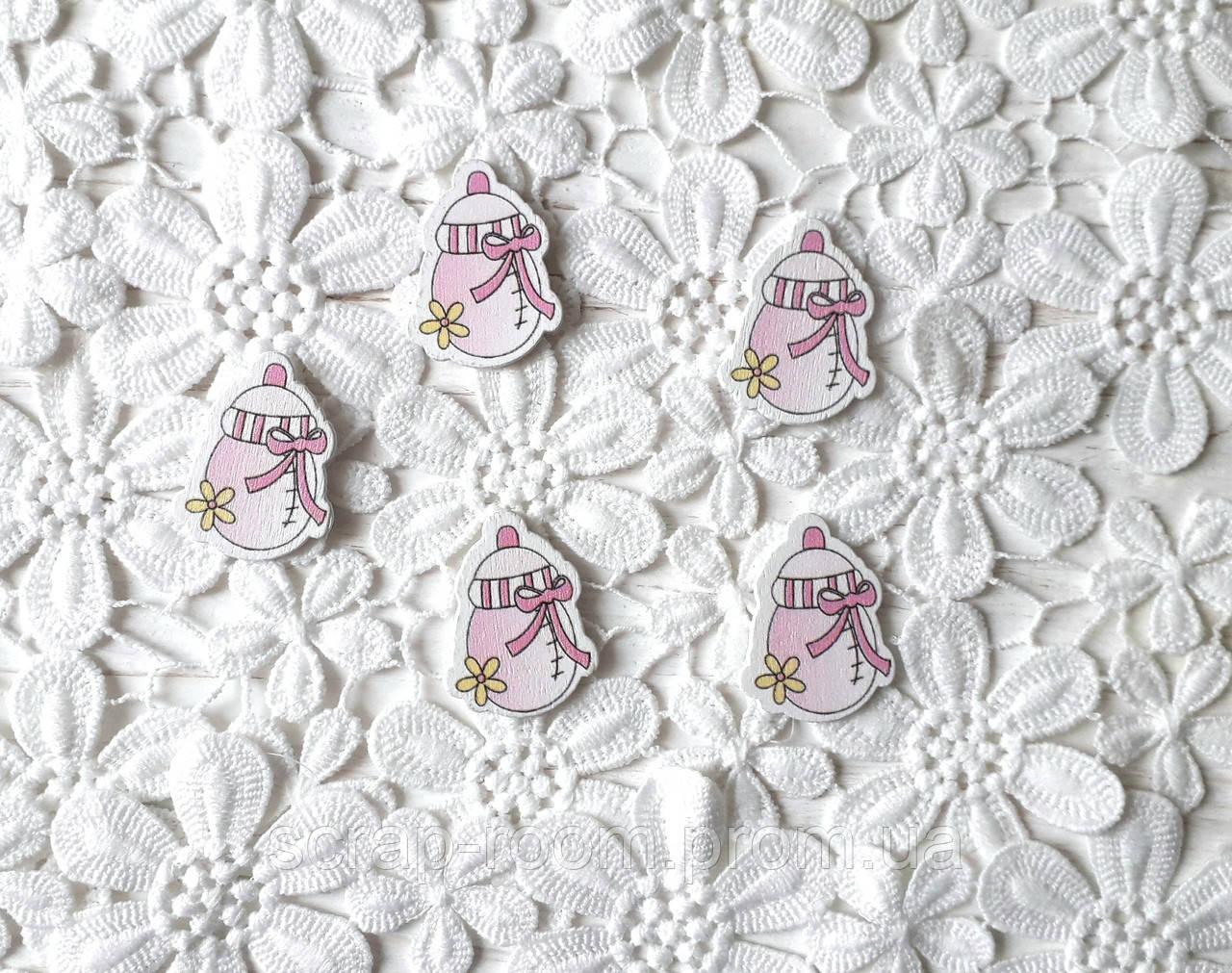Деревянный кабошон детский Бутылочка для девочки розовая, розовая бутылочка, baby girl