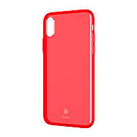 Силикон Baseus Simple for iPhone X Transparent Red