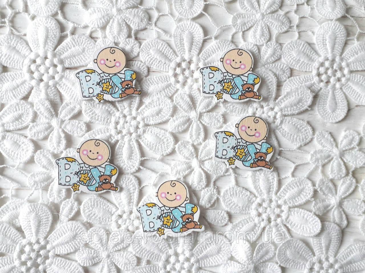 Деревянный кабошон детский Мальчик с надписью BOY c мишкой, baby мальчик голубой цвет