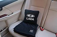 Автомобильный плед Lada в чехле с вышивкой логотипа, фото 1