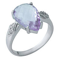 Серебряное кольцо 925 пробы с натуральным аметистом