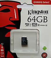Карта памяти микро SDXC Kingston 64 гб класс 10 без адаптера