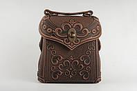 Кожаный рюкзак ручной работы коричневый, сумочка-рюкзак с авторским тиснением