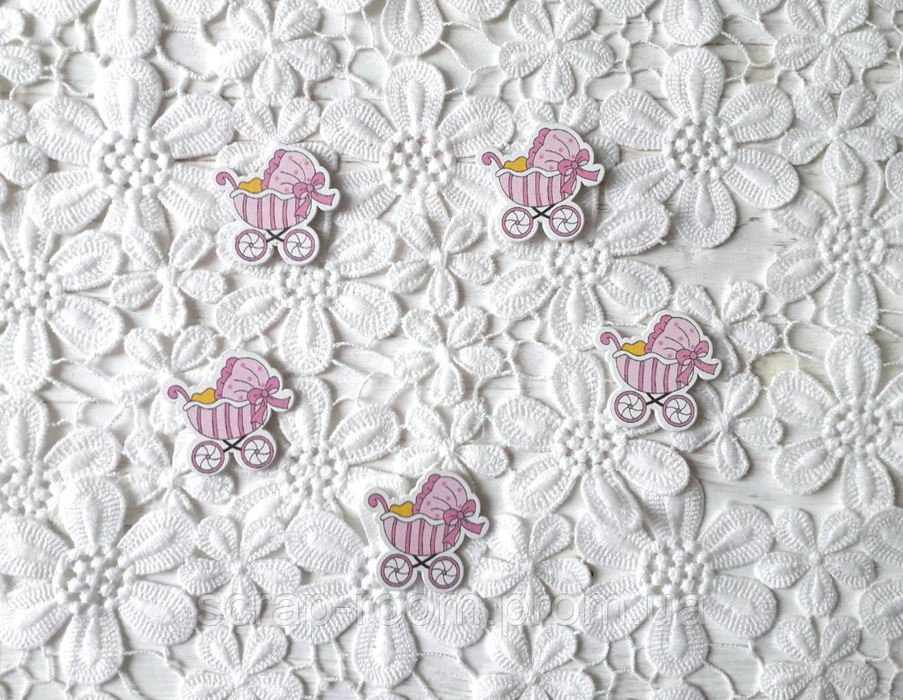 Деревянный кабошон детский Коляска девочка розовая, розовая коляска, baby girl