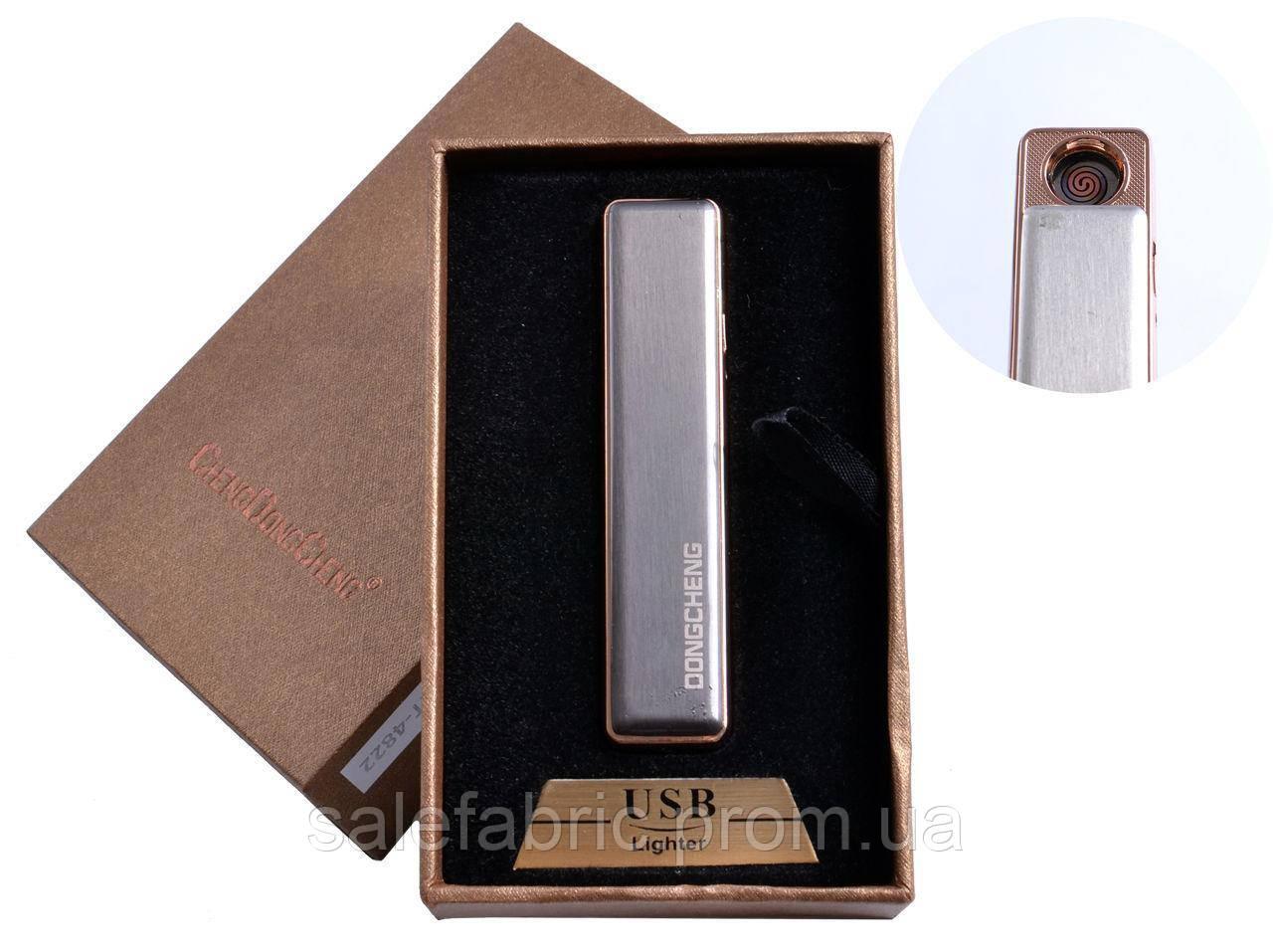 USB зажигалка в подарочной упаковке (спираль накаливания, серебро) №4822-3