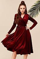 Красивое велюровое платье на запах с поясом