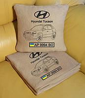 Автомобильный плед Hyundai с вышивкой контуров машины, в чехле с вышивкой. Цвет пледа на выбор., фото 1
