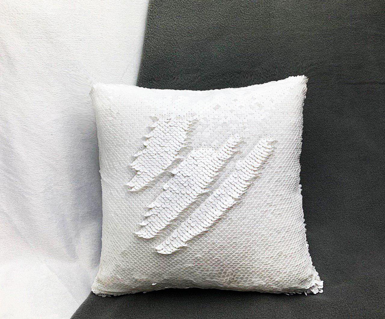 Подушка БЕЛАЯ с пайетками под сублимацию ХАМЕЛЕОН 35х35см