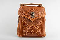 Кожаный рыжий рюкзак ручной работы, сумочка-рюкзак с авторским тиснением