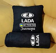 Автомобильный плед Lada с вышивкой номерных знаков и имени. Цвет пледа на выбор.
