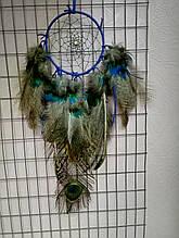 Ловец снов синий с пером павлина