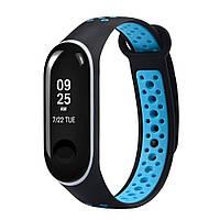 Силиконовый ремешок Nike Series для Xiaomi Mi Band 3 Black/Blue, фото 1