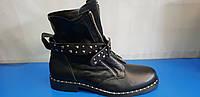 Стильные кожаные женские ботинки, фото 1