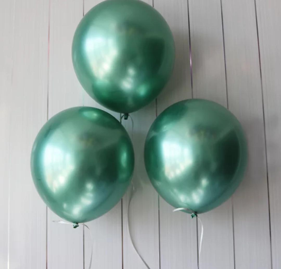 """Хромированный воздушный латексный шар зеленый 12"""" дюймов 28 - 30 см."""
