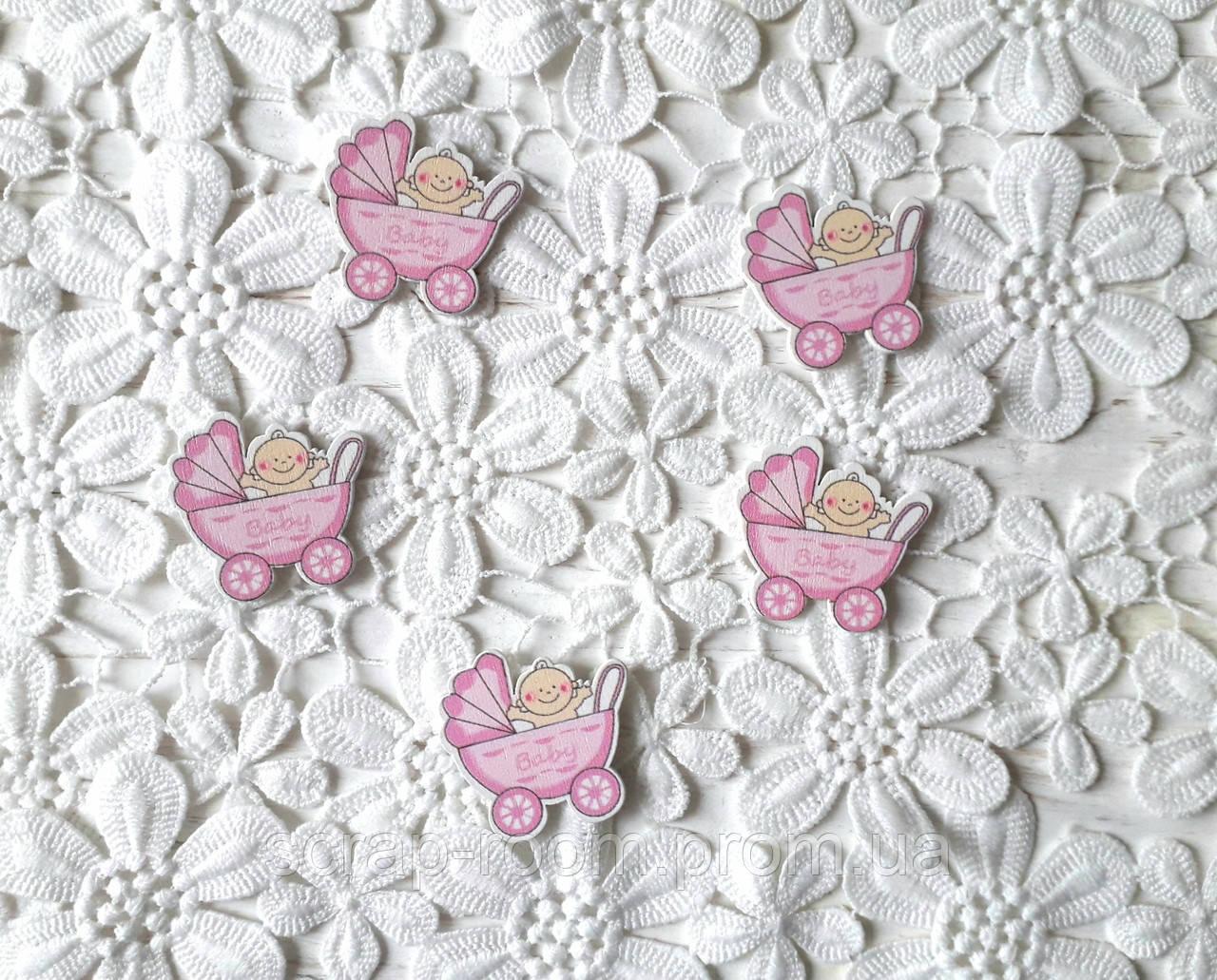 Деревянный кабошон детский Коляска с малышом девочка розовая baby, розовая коляска, baby girl