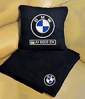 Автомобильный плед BMW с вышивкой номерных знаков и имени. Цвет пледа на выбор.