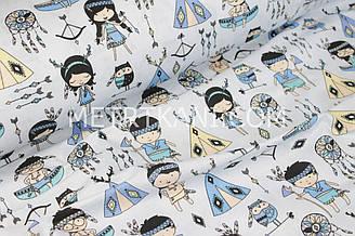"""Хлопковая ткань  """"Маленькие индейцы бирюзово-синих  тонов """" на светло-сером фоне №1362"""