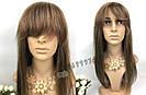 💎 Парик из натуральных волос с длинной челкой, мелирован 💎, фото 2