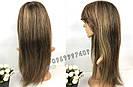 💎 Парик из натуральных волос с длинной челкой, мелирован 💎, фото 4