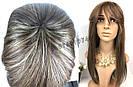 💎 Парик из натуральных волос с длинной челкой, мелирован 💎, фото 5