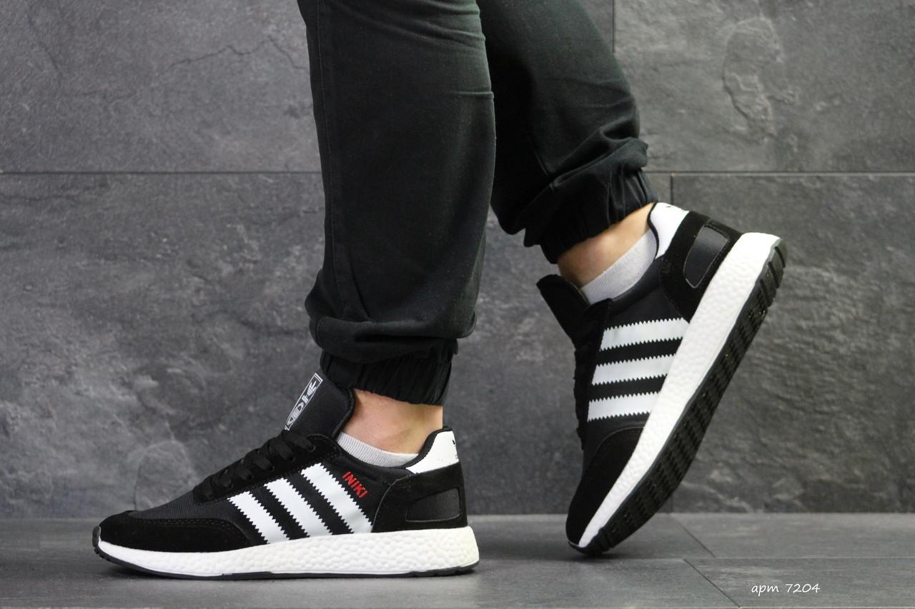 Мужские кроссовки Adidas Iniki,замшевые,черно-белые