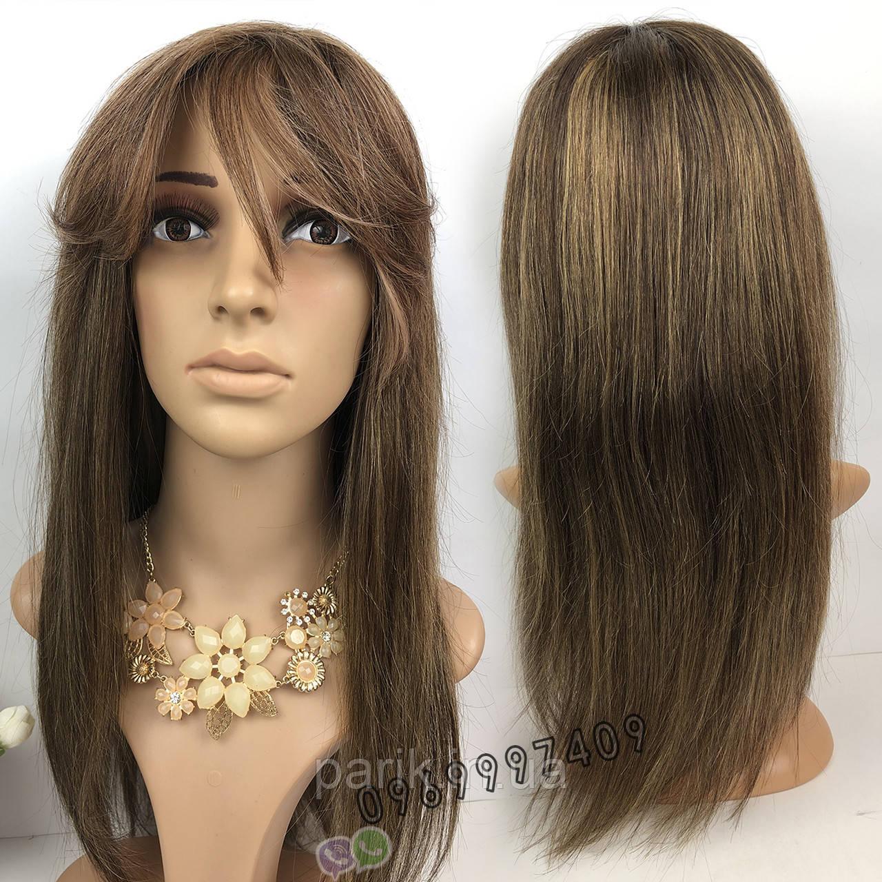 💎 Парик из натуральных волос с длинной челкой, мелирован 💎