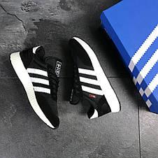 Мужские кроссовки Adidas Iniki,замшевые,черно-белые, фото 3