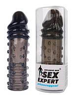 Насадка для увеличения члена черная L 150 мм D 40 мм SexExpert