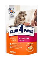 Корм пауч Клуб 4 Лапы PREMIUM для взрослых кошек телятина в соусе, 100 г