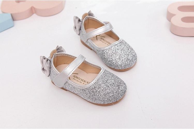 Туфли  нарядные детские  на девочку с блестками серебряные с бантиком