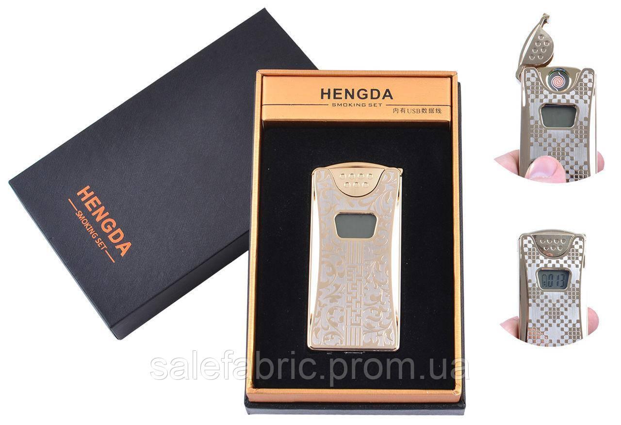 USB зажигалка в подарочной упаковке HENGDA (Спираль накаливания, Счетчик поджигов) №XT-4873-1