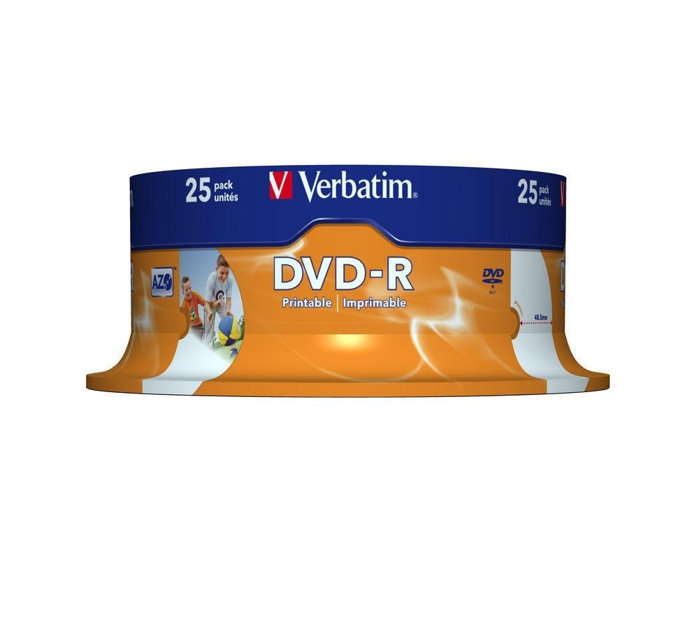 DVD-R Verbatim (43538) 4.7GB 16x AZO Wide Printable Surface, 25шт Spindle