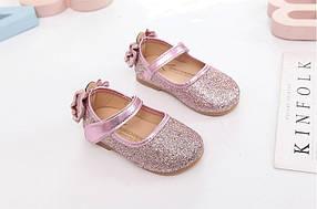 Туфли  нарядные детские  на девочку с блесткам розовые с бантиком 21-30р.
