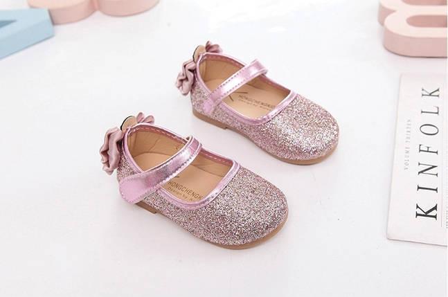 Туфли  нарядные детские  на девочку с блесткам розовые с бантиком, фото 2