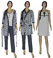 Пижама женская с брюками, ночная рубашка и халат 19016 03278-2 MindViol Agure Dark Blue