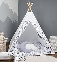 Детская палатка с окном + коврик + 2 подушки, вигвам для детей, шалаш для деток, палатка для мальчика