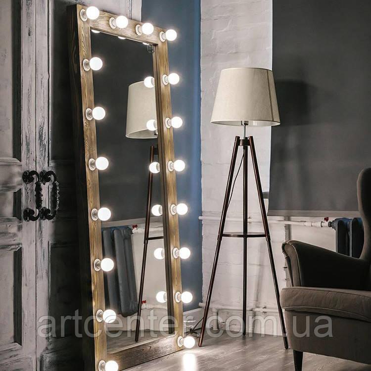Зеркало гримерное, зеркало в раме из натурального дерева, зеркало в полный рост, напольное