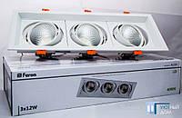 Світлодіодний світильник карданний Feron AL203 3хСОВ 12W 4000K, фото 1