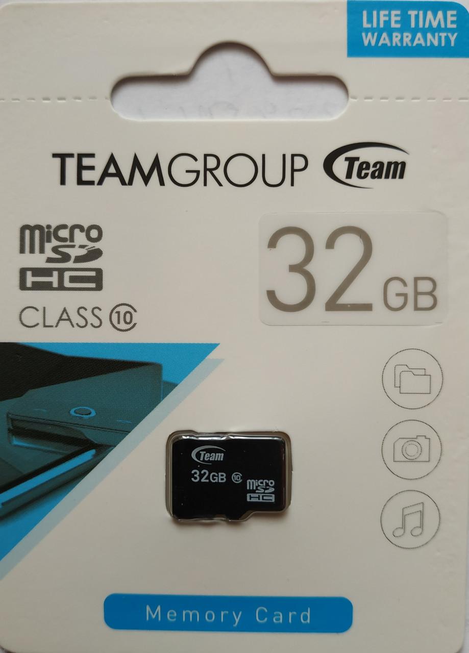 Карта памяти микро SDHC Team 32 гб класс 10 без адаптера