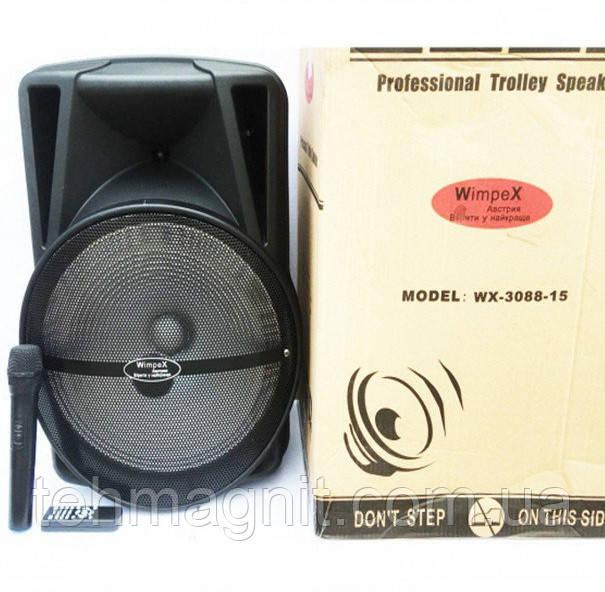 Колонка с аккумулятором Wimpex WX-3088-15 Bluetooth, SD+USB, пульт, гитарный вход