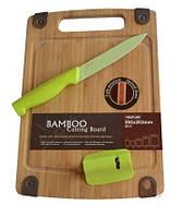 Доска разделочная HILTON SB-S+5U+KS1 (29*20 см. бамбук) + нож + точилка, фото 1