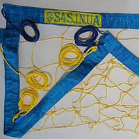 Сетка для пляжного волейбола «ТРАНЗИТ» с паракордом желто-синяя
