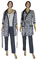 NEW! Женские домашние трикотажные наборы - пижамы с халатами - Mindal Agure Dark Blue ТМ УКРТРИКОТАЖ!