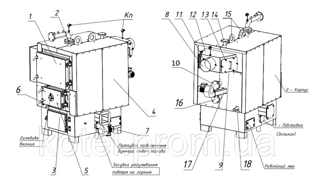 Схема водогрейного котла на щепе ТМ-150