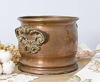 Старинный медный горшок, кашпо, зольник, медь, латунь, Германия, фото 1