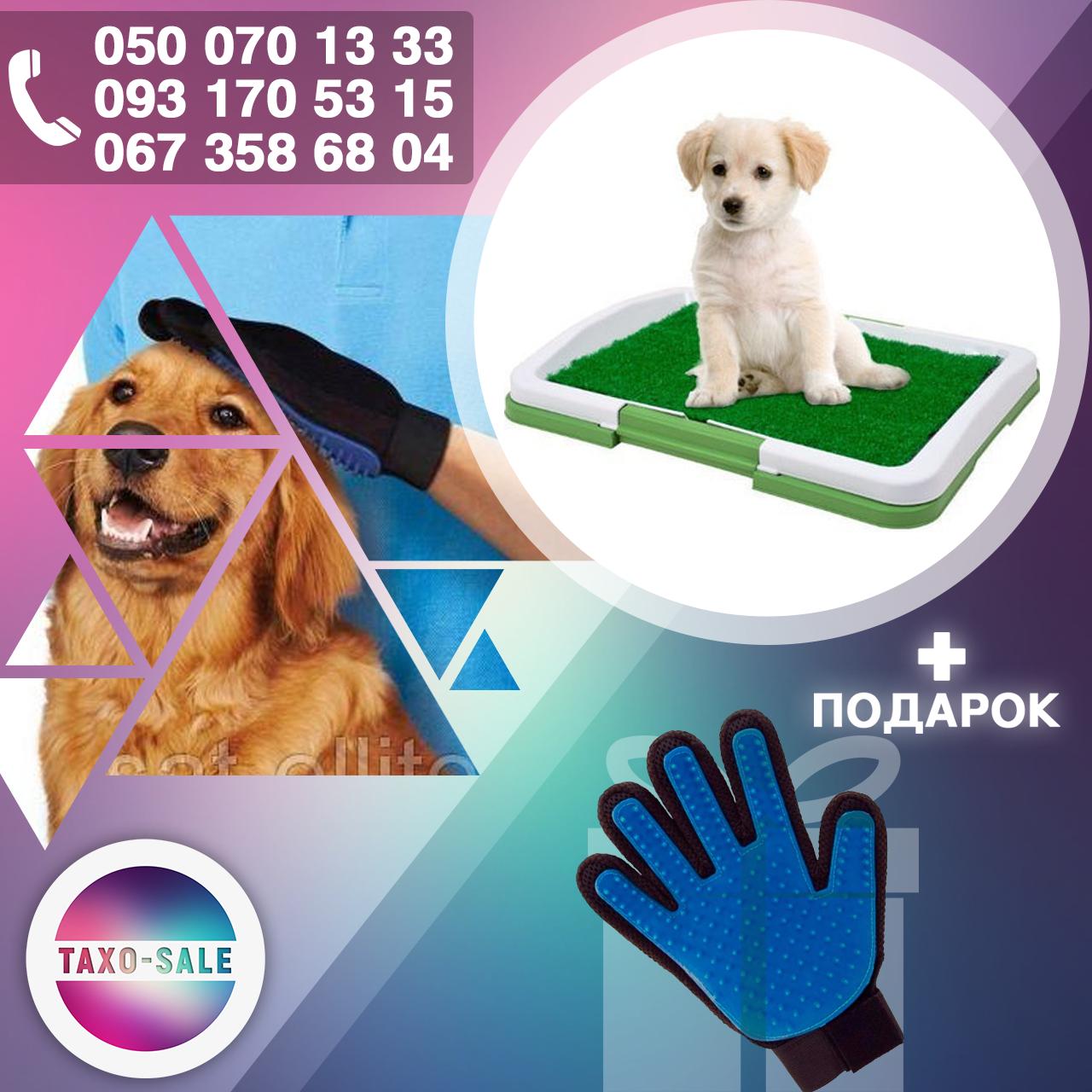 Туалет для собак Puppy Potty Pad, коврик лоток для собак + Перчатка для вычесывания шерсти В ПОДАРОК!