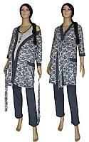 Пижама и халат 19016 Mindal Agure Dark Blue для беременных и кормящих, р.р.42-56